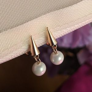 Goldtone Spike Faux Pearl ClipOn Earring Piercless